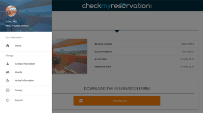 Menu check my reservation
